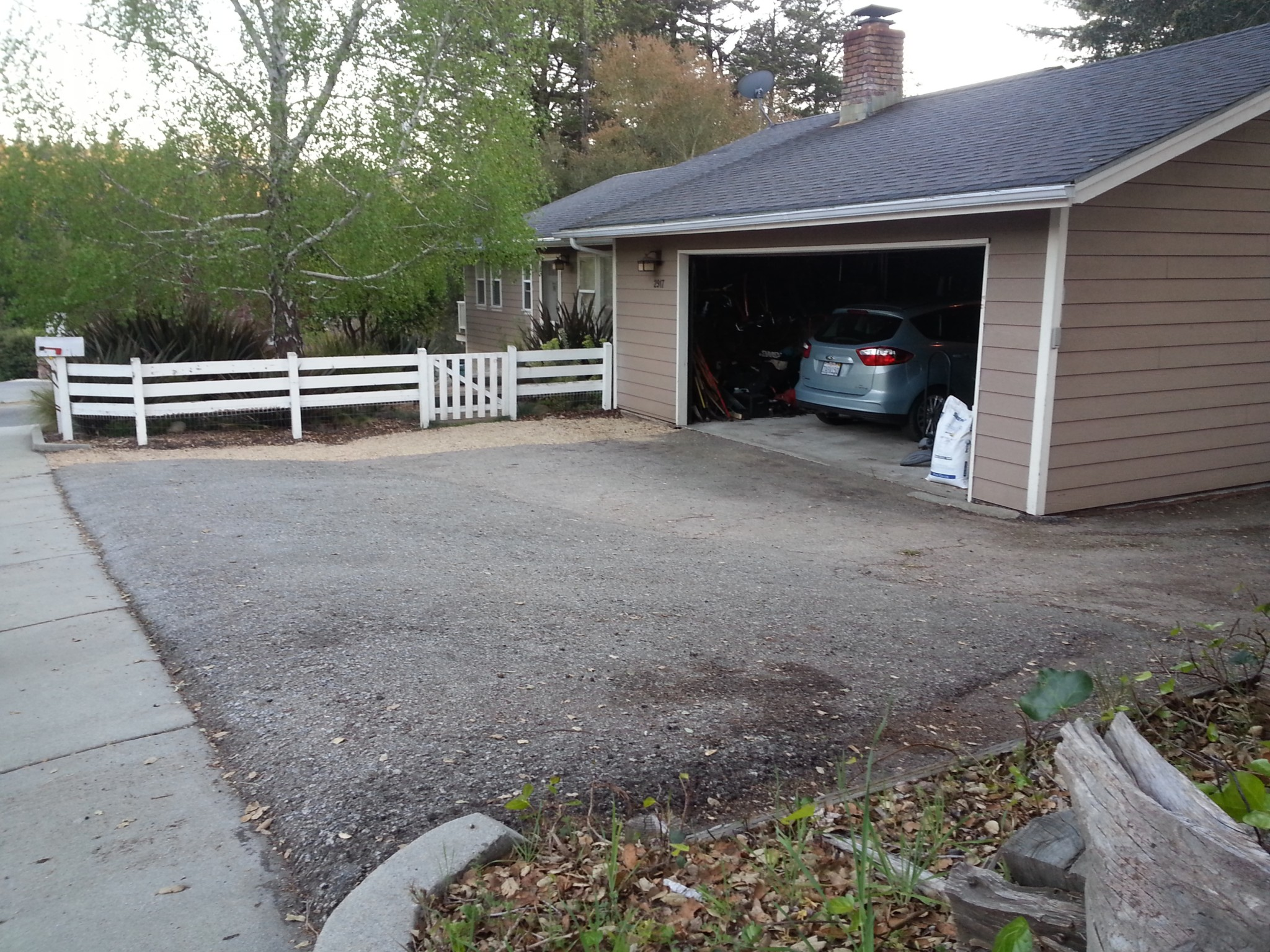 1200 square feet of asphalt driveway was removed