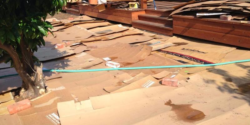 laying cardboard